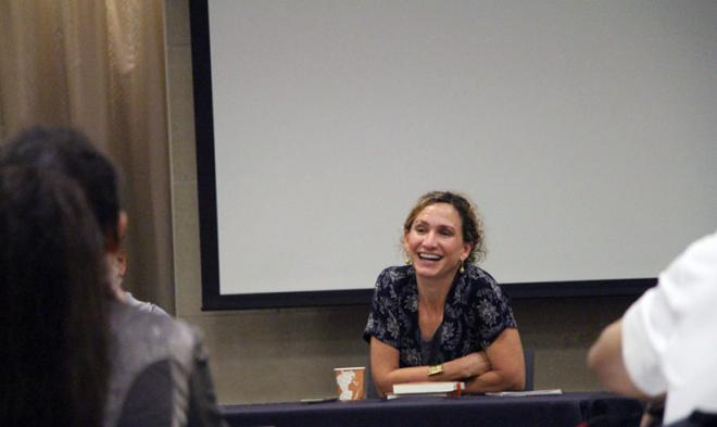 Professor Marta Caminero-Santangelo reacts to a comment from a BFSU scholar.
