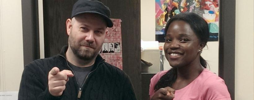 HBW technical consultant, David Miller, goofing around with visiting PhD student, Portia Owusu - Fall 2015.