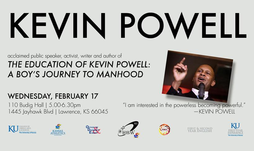 Kevin Powell: The Education, Event Feb. 17th, Budig Hall 5pm
