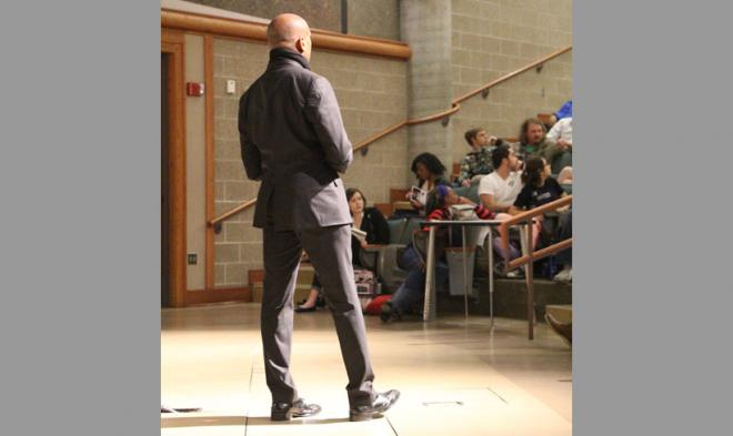 Writer and activist Kevin Powell speaking at KU - February 2016.